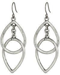 Lucky Brand Silver Double Tearring Drop Earring - Lyst