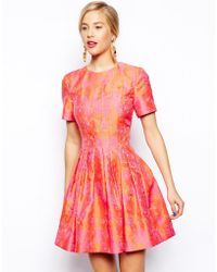 Asos Salon Bright Floral Jacquard Skater Dress - Lyst
