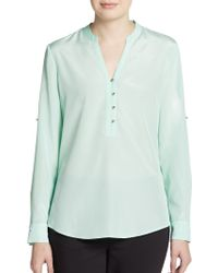 Ivanka Trump Roll-Tab Sleeve Button-Front Blouse - Lyst