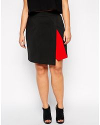 Asos Curve Exclusive Scuba Skirt With Contrast Wrap - Lyst