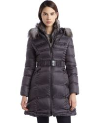 Dawn Levy Grey Quilted Down Filled Fox Fur Trimmed Belted Jacket - Lyst
