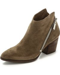 Belle By Sigerson Morrison Lara Suede Zip Booties Dark Denim - Lyst