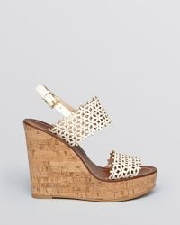 Tory Burch Platform Wedge Sandals Daisy Perforated - Lyst