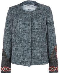 Day Birger Et Mikkelsen Blue Ottoman Collarless Beaded Sleeve Boucle Jacket - Lyst