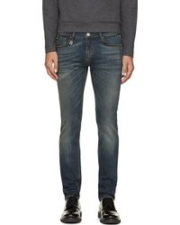 Pierre Balmain Blue Faded Slim Fit Jeans - Lyst