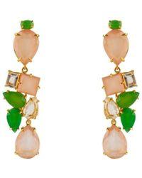 Bounkit Rose Quartz, Chrysoprase, And Clear Quartz Earrings - Lyst