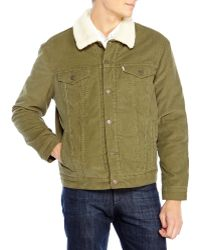 Levi's Olive Faux Sherpa Corduroy Jacket - Lyst