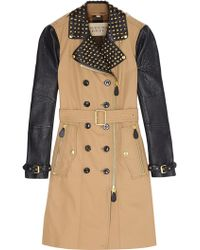 Burberry Brit Leather Sleeve Spiked Collar Trench Coat - Lyst