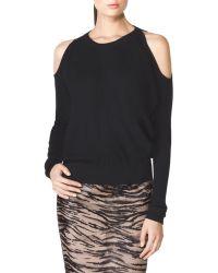Tamara Mellon Rib Cold Shoulder Sweater black - Lyst