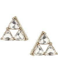 Topshop Womens Rhinestone Triangle Studs  Clear - Lyst