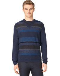 Calvin Klein Merino Plaited Stripe V Neck Pullover - Lyst