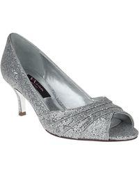 Nina Metallic Embossed Leather Peep Toe Pumps - Lyst