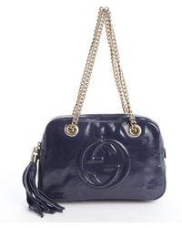 Gucci Blue Faux Patent Tasseled Shoulder Bag - Lyst