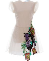 Blumarine Pale Pink Floral Embroidered Dress - Lyst
