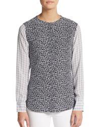 0b244efd839db9 Equipment - Lynn Silk Plaid-sleeved Floral-print Shirt - Lyst