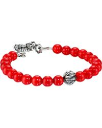 King Baby Studio 8Mm Red Coral Bracelet With Silver Feather Bead - Lyst