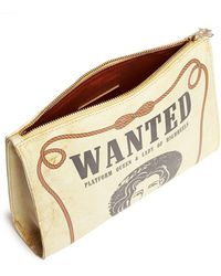 Charlotte Olympia 'Wanted' Poster Print Leather Clutch yellow - Lyst