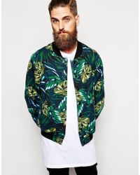 American Apparel - Bomber Jacket With Ao Leaf Print - Lyst