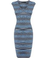 Karen Millen Space Dye Viscose Stripe Bandage Dress - Lyst