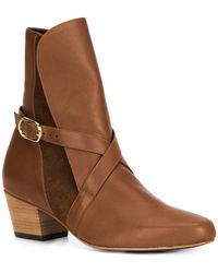 Valas - Panelled Suede and Leather Ankle Boots - Lyst