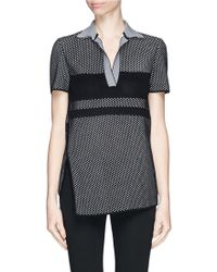 Proenza Schouler Waffle Piqué Knit Polo Shirt black - Lyst