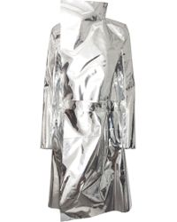 Gareth Pugh Mirror Trench Coat Metallic Silver - Lyst