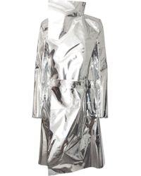 Gareth Pugh Mirror Trench Coat Metallic Silver silver - Lyst
