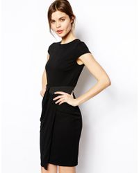 Asos Pencil Dress in Crepe with Elastic Waist - Lyst