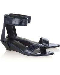 Alexander Wang Vika Croceffect Leather Sandals - Lyst