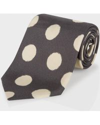Paul Smith Elephant Grey Painted Polka Dot Classic Silk Tie - Lyst