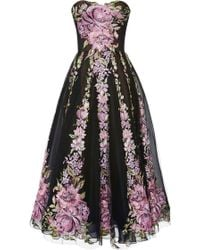 Marchesa Floral Tulle Cocktail Dress - Lyst