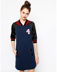 Love Moschino Varsity Sweater Dress with Three Quarter Contrast Sleeves - Lyst