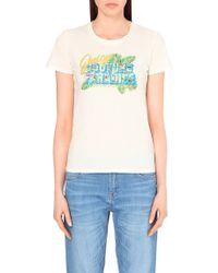 Juicy Couture Paradise Embellished Cotton-Jersey T-Shirt - For Women beige - Lyst