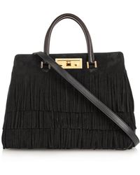 Saint Laurent Trois Clous Fringed Suede Tote - Lyst