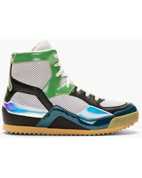 Maison Margiela Grey Mesh and Leather High_top Sneakers - Lyst