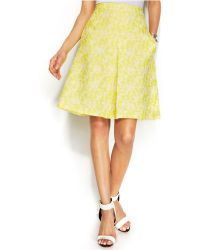 Vince Camuto Jacquard Pleated A-Line Skirt - Lyst