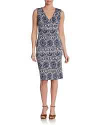Tory Burch Kevin Tileprint Sheath Dress - Lyst