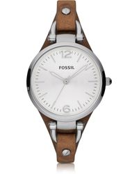 Fossil - Georgia Riley Silver Tone Stainless Steel Case And Brown Leather Strap Women's Watch - Lyst
