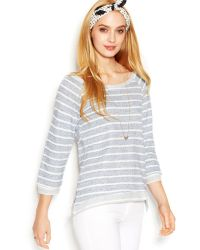 Maison Jules Heathered Stripe Sweatshirt - Lyst