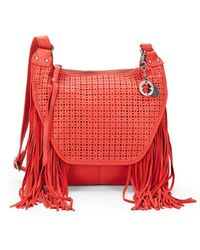 Lucky Brand - Fringed Leather Laser-cut Bag - Lyst