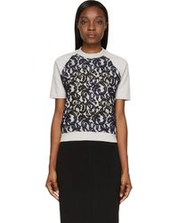Carven Grey Lace Overlay Short Sleeve Sweater - Lyst