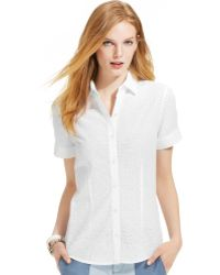 Tommy Hilfiger Shortsleeve Eyelet Buttondown Shirt - Lyst