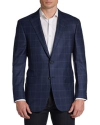 Hickey Freeman Windowpane Wool Two Button Sport Coat - Lyst