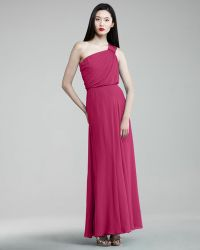Aidan By Aidan Mattox One Shoulder Cinched Gown - Lyst