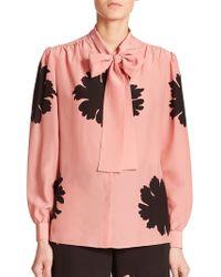 Alexander McQueen Floral Silk Tie-Neck Blouse - Lyst