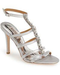 Badgley Mischka 'Elect' Crystal Embellished Sandal silver - Lyst