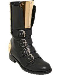 Giuseppe Zanotti 20mm Nappa Leather Plaque Combat Boots - Lyst