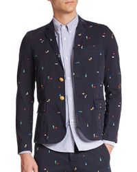 Band of Outsiders Embroidered Cotton Blazer multicolor - Lyst