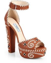 Prada Embroidered Leather Platform Sandals - Lyst