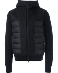 Moncler Knitted Sleeve Padded Jacket black - Lyst